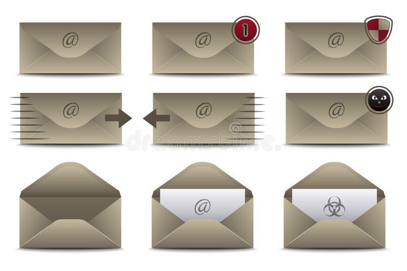 Icone delle buste per il email illustrazione vettoriale