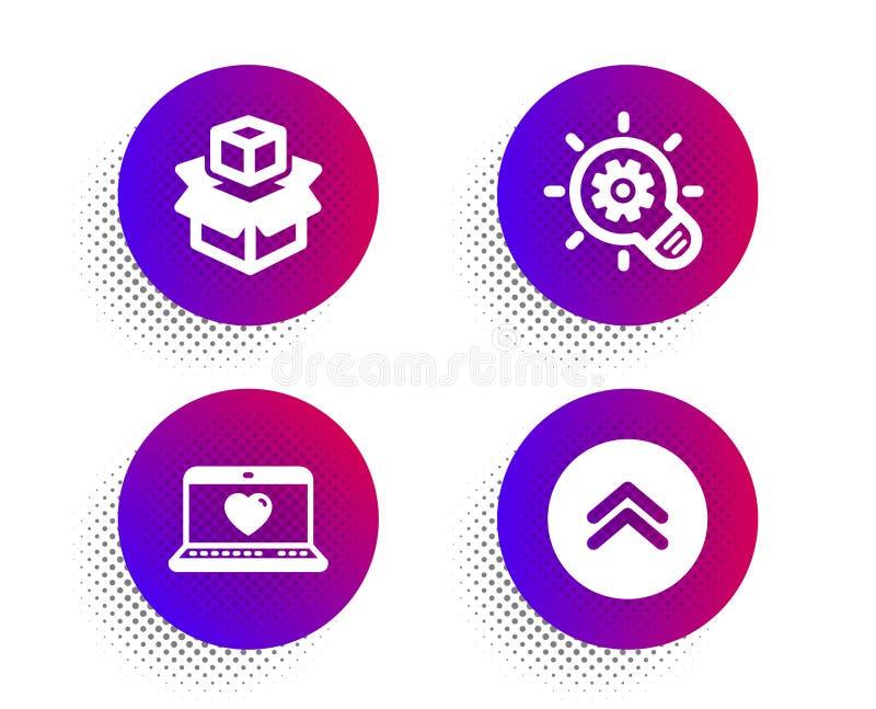 Icone delle caselle di controllo Web, Cogwheel e Packing Segnalazione rapida Social network, la lampadina delle idee, il pacchett royalty illustrazione gratis