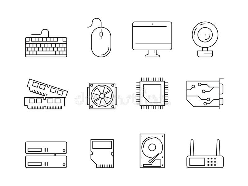 Icone delle componenti del PC I simboli lineari di memoria di ram dell'adattatore di potere del CPU dello SSD dell'unità di elabo illustrazione di stock