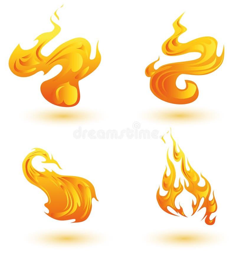 Icone delle fiamme illustrazione di stock