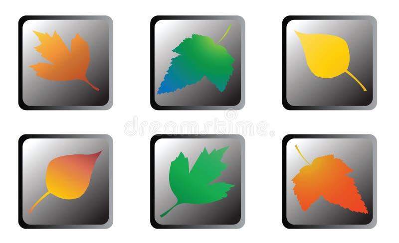 Icone delle foglie di autunno immagine stock
