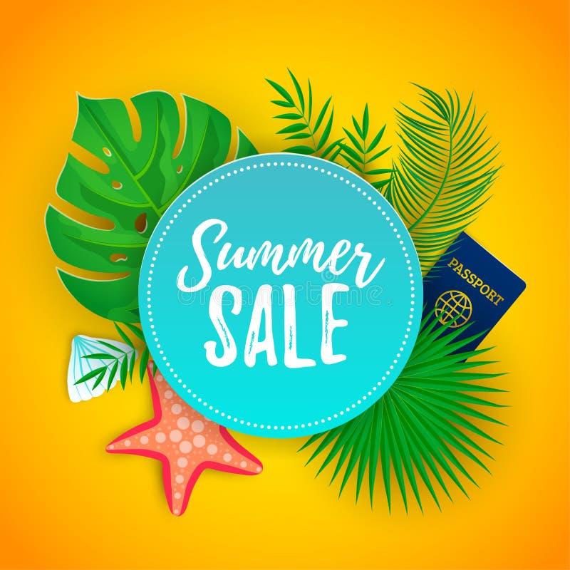 Icone delle foglie di palma di vendita di estate illustrazione di stock