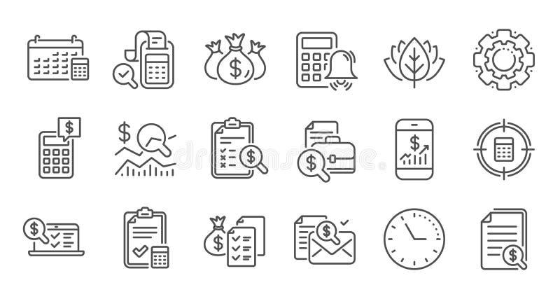 Icone delle linee contabili Insieme di icone lineare report, Calcolatore e checklist Vettore illustrazione vettoriale