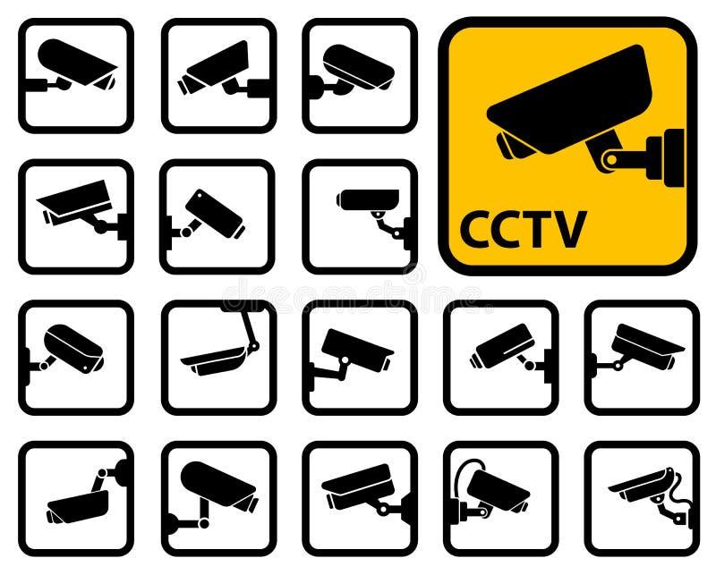 Icone delle macchine fotografiche del CCTV illustrazione di stock