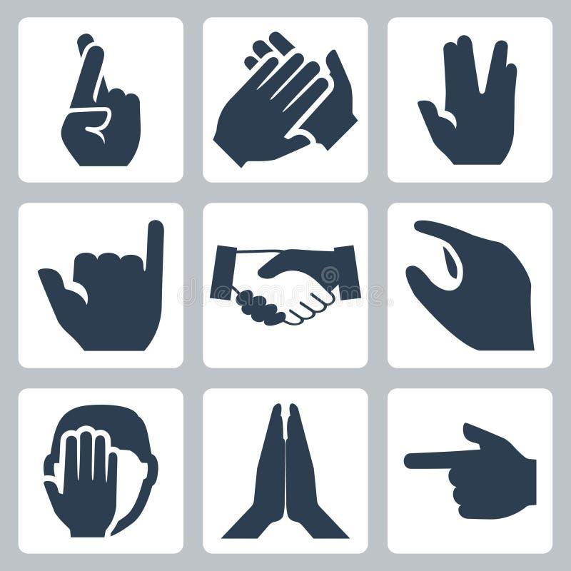 Icone delle mani di vettore messe illustrazione vettoriale