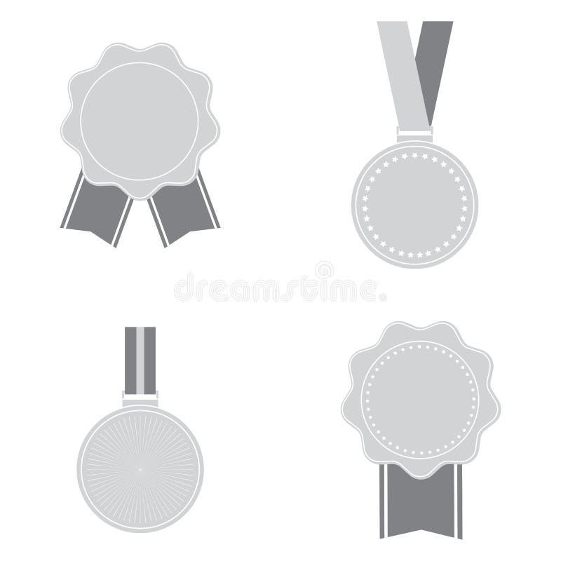 Icone delle medaglie isolate su fondo bianco Insieme del simbolo per la vostra progettazione del sito Web, logo, app, UI delle me illustrazione vettoriale