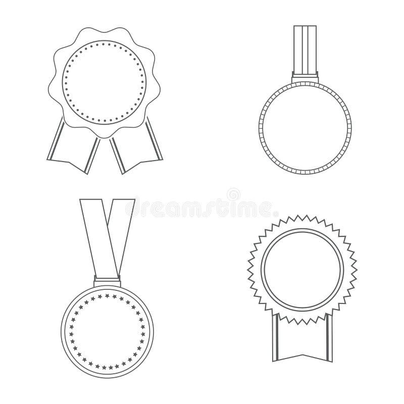 Icone delle medaglie isolate su fondo bianco Insieme del simbolo per la vostra progettazione del sito Web, logo, app, UI delle me royalty illustrazione gratis