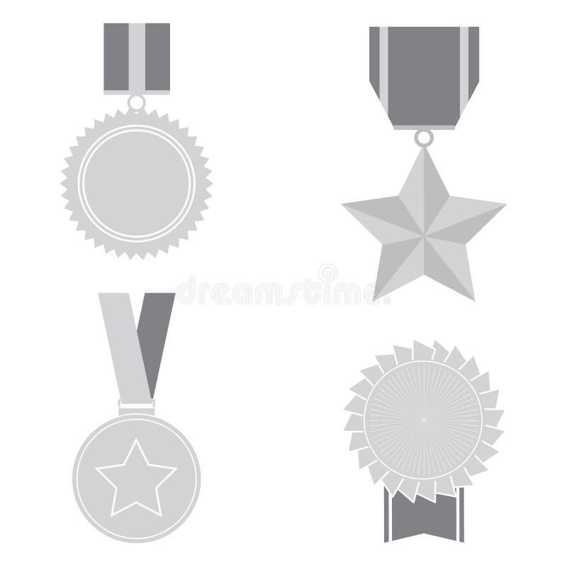 Icone delle medaglie isolate su fondo bianco Insieme del simbolo per la vostra progettazione del sito Web, logo, app, UI delle me illustrazione di stock