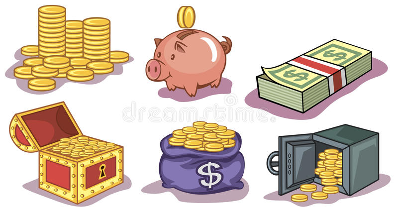 Icone delle monete e dei soldi immagini stock libere da diritti