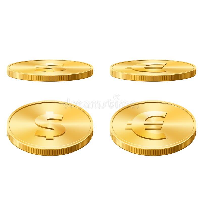 Icone delle monete messe illustrazione di stock