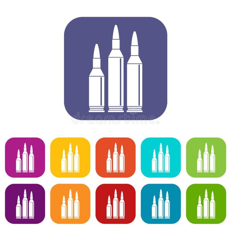 Icone delle munizioni della pallottola messe illustrazione di stock