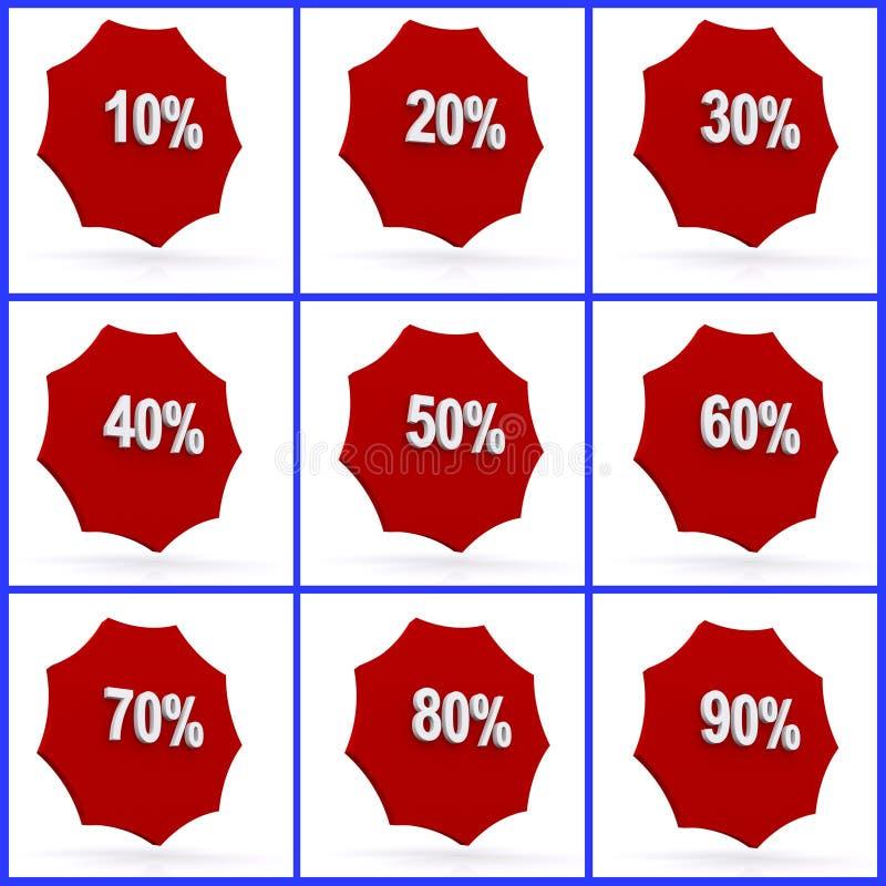 Icone delle percentuali immagine stock