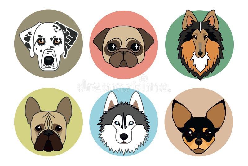 Icone delle razze differenti dei cani royalty illustrazione gratis