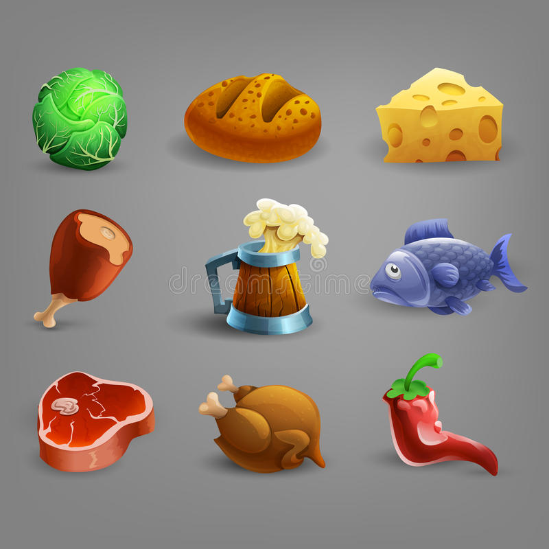 Icone delle risorse per i giochi illustrazione di stock