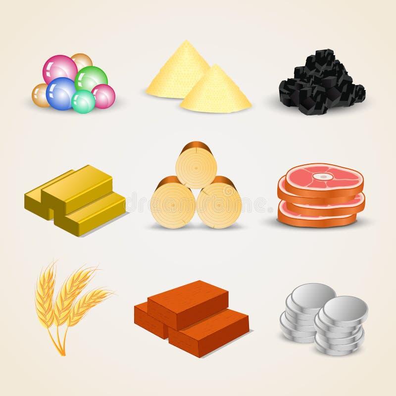 Icone delle risorse per i giochi illustrazione vettoriale