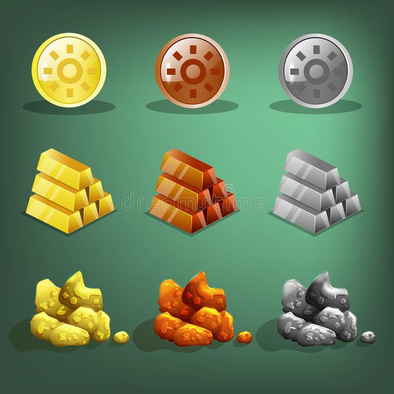 Icone delle risorse per i giochi Oro, argento e rame illustrazione vettoriale