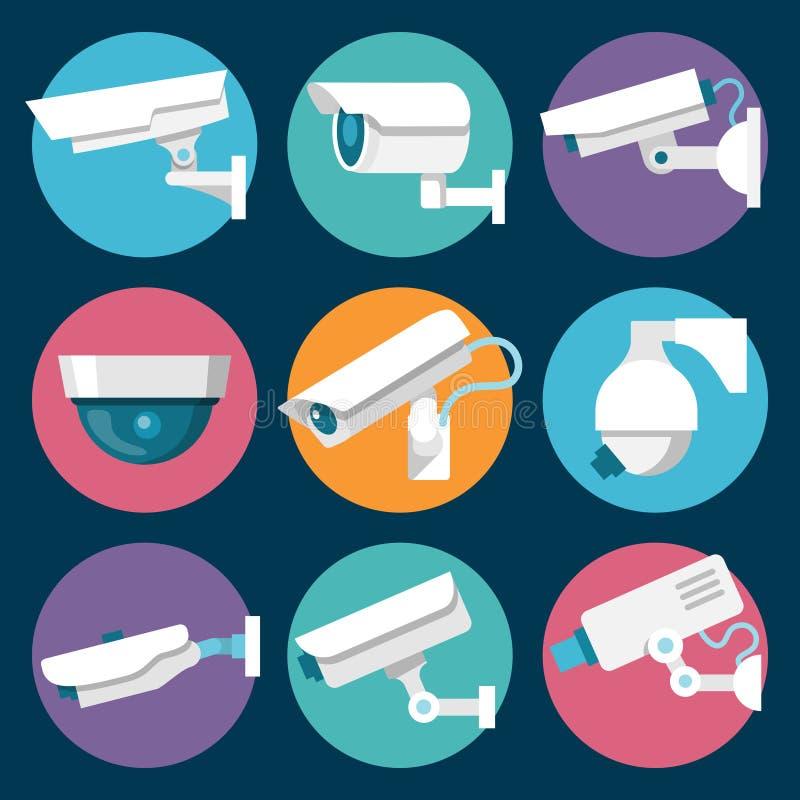Icone delle videocamere di sicurezza messe illustrazione vettoriale