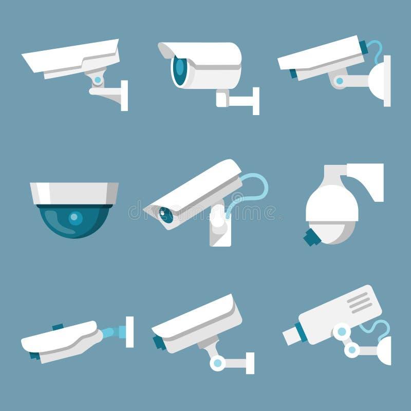 Icone delle videocamere di sicurezza messe royalty illustrazione gratis