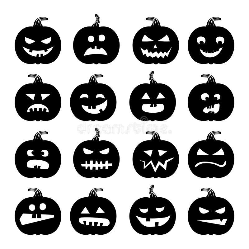 Icone delle zucche Insieme della siluetta della zucca di Halloween di vettore isolato su bianco illustrazione di stock