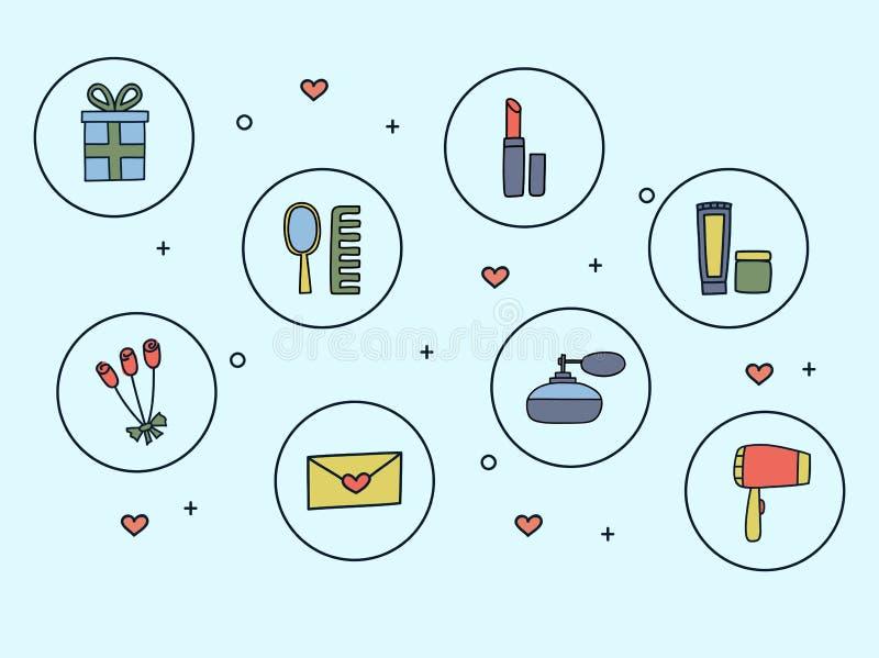 Icone dello scarabocchio disegnato a mano degli accessori e dei cosmetici delle donne nello stile Illustrazione di vettore illustrazione di stock