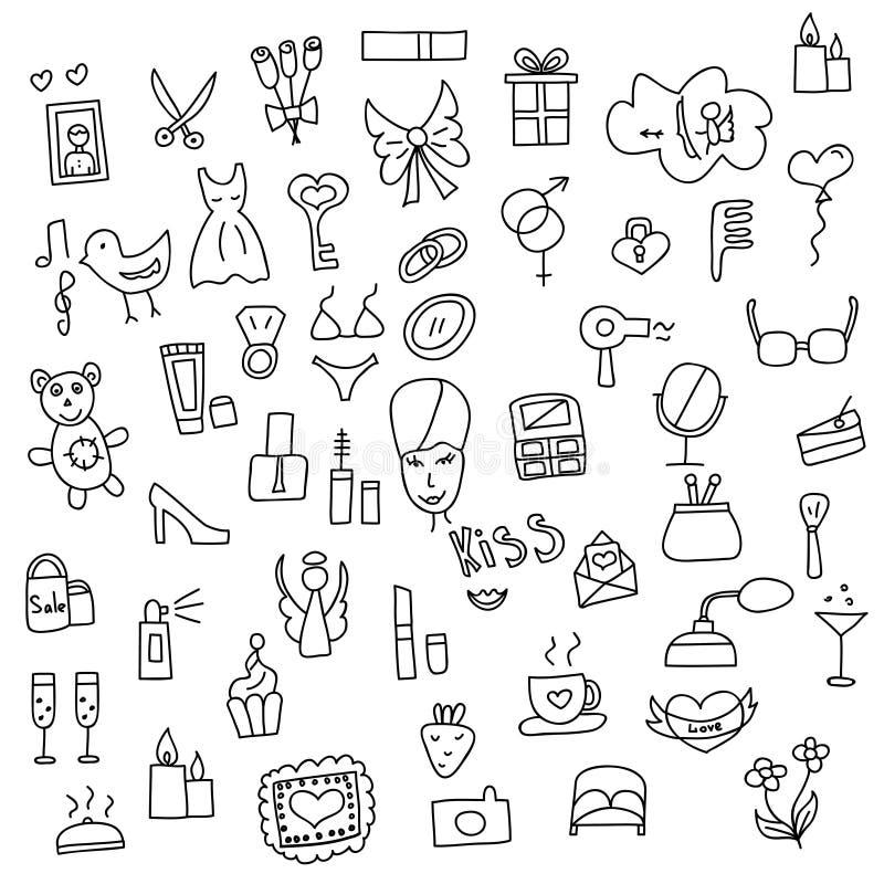 Icone dello scarabocchio disegnato a mano delle donne nello stile Illustrazione di vettore royalty illustrazione gratis