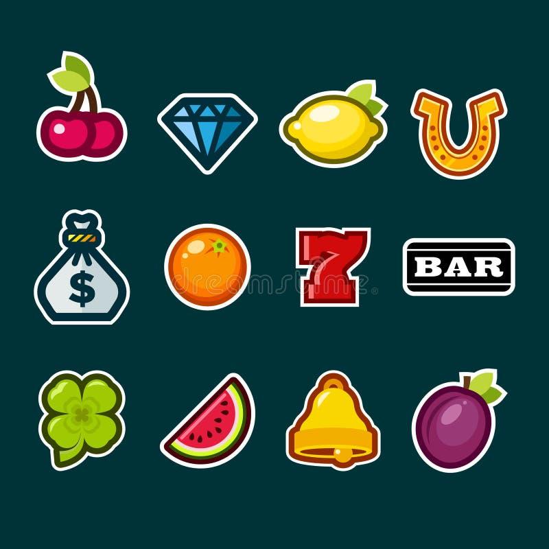 Icone dello slot machine del casinò illustrazione di stock
