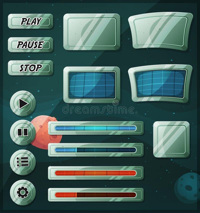 Icone dello spazio di Scifi per il gioco di Ui illustrazione vettoriale