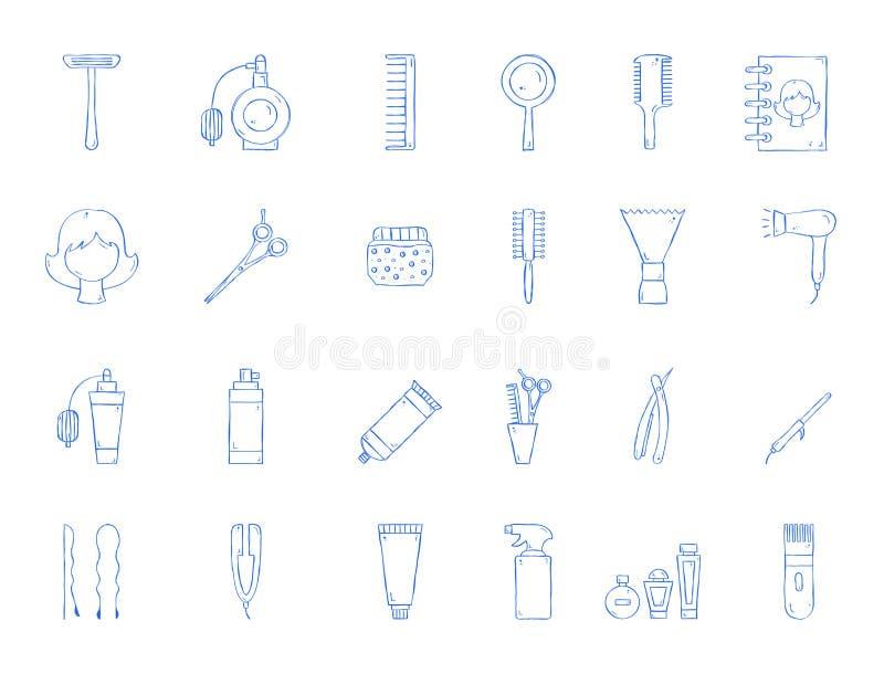 Icone dello strumento del parrucchiere illustrazione di stock