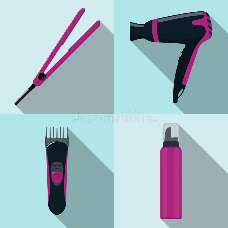 Icone dello strumento del parrucchiere, insieme Fon, ferro dei capelli, tagliatore, mousse Simboli del parrucchiere di profession royalty illustrazione gratis