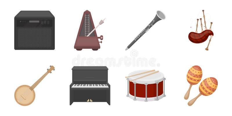 Icone dello strumento musicale nella raccolta dell'insieme per progettazione royalty illustrazione gratis