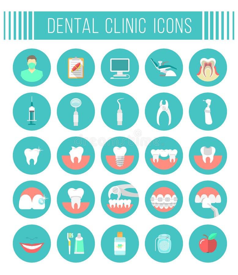 Icone dentarie del piano di servizi della clinica illustrazione di stock