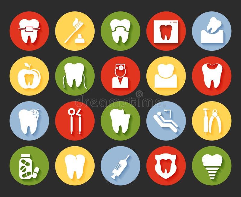 Icone dentarie di stile piano messe royalty illustrazione gratis