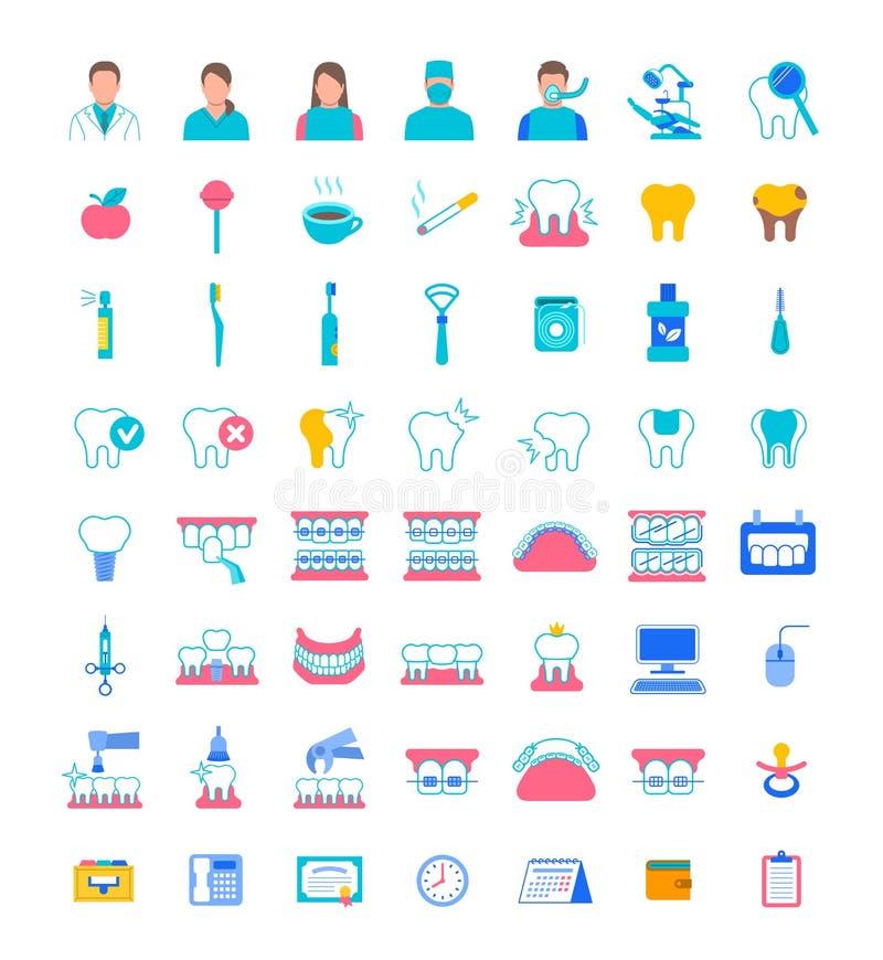 Icone dentarie di vettore del piano di servizi della clinica illustrazione vettoriale