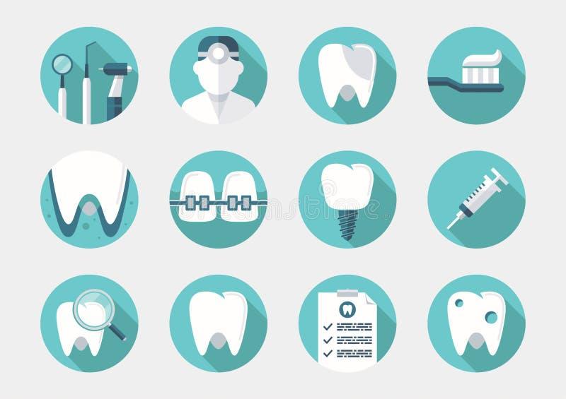 Icone dentarie di web di sanità illustrazione vettoriale