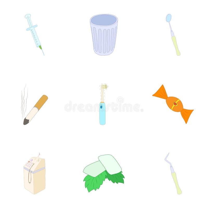 Icone dentarie messe, stile di trattamento del fumetto illustrazione vettoriale