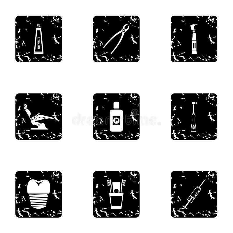 Icone dentarie messe, stile di trattamento di lerciume royalty illustrazione gratis