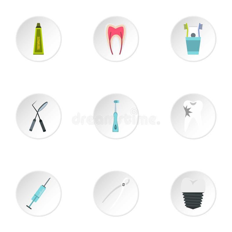 Icone dentarie messe, stile piano di trattamento royalty illustrazione gratis