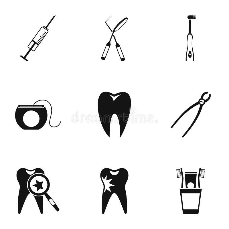 Icone dentarie messe, stile semplice di trattamento royalty illustrazione gratis