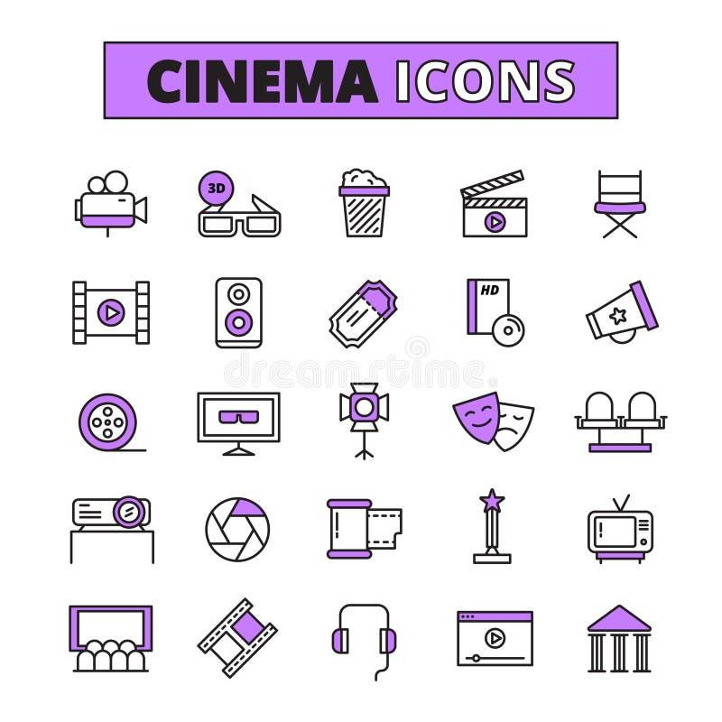 Icone descritte simboli del cinema messe illustrazione vettoriale