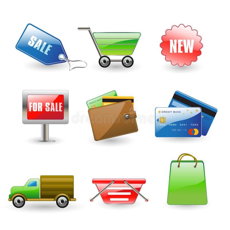 Icone di acquisto illustrazione di stock