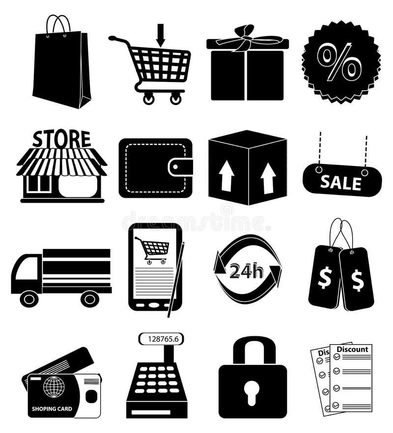 Icone di acquisto impostate illustrazione di stock