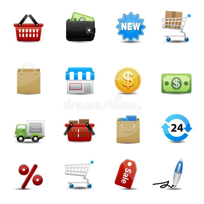 Icone di acquisto messe  illustrazione di stock