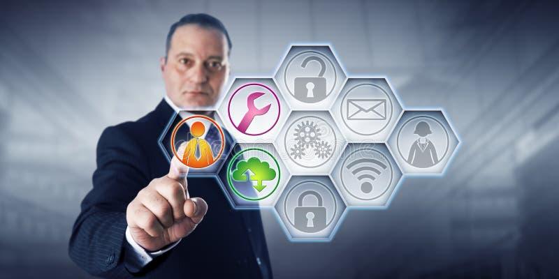 Icone di Activating Managed Services dell'uomo d'affari fotografie stock