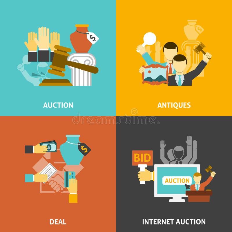 Icone di affare dell'asta messe illustrazione vettoriale