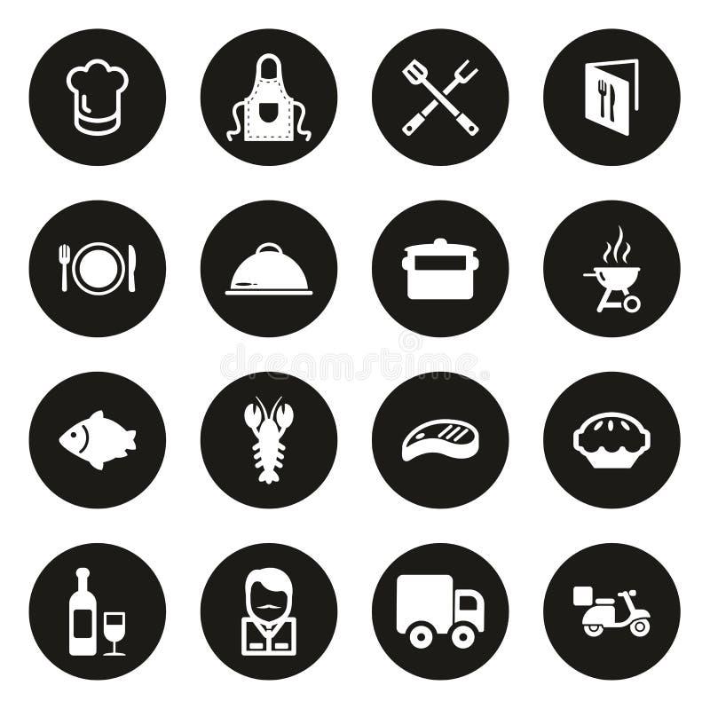 Icone di affari di approvvigionamento bianche sul cerchio nero illustrazione vettoriale