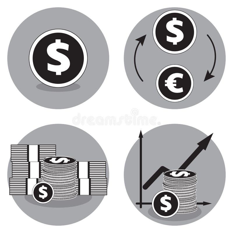 Icone di affari in bianco e nero Icona di vettore del dollaro Dollari di scambio per gli euro illustrazione vettoriale