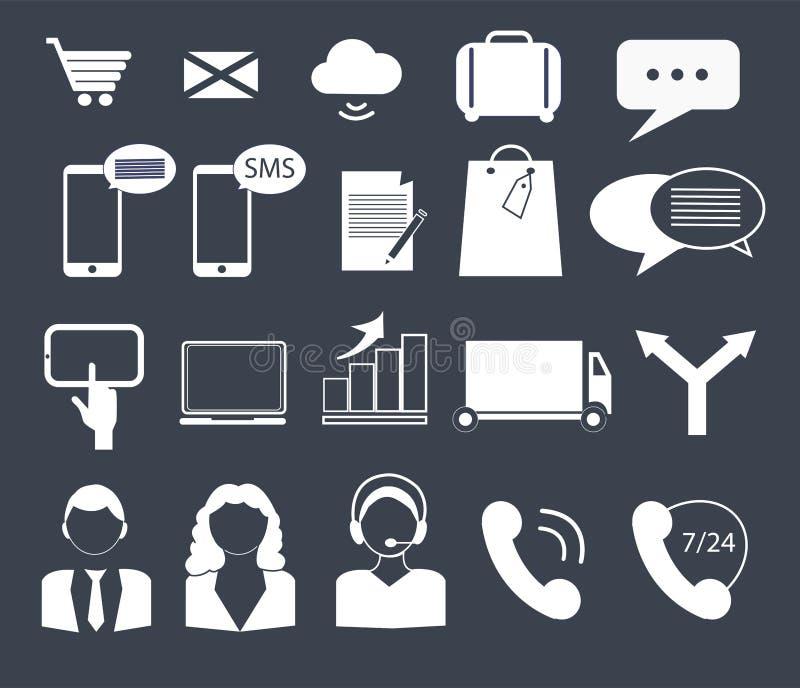 Icone di affari, di finanza e del contatto fotografia stock libera da diritti