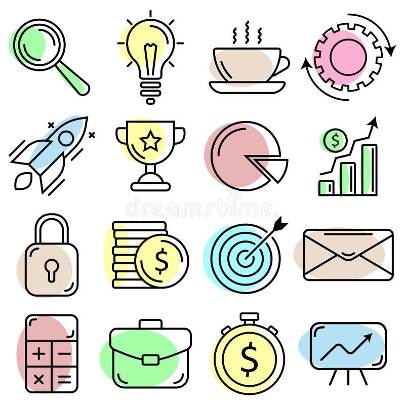 Icone di affari impostate Linea stile sottile piana Qualit? di premio illustrazione vettoriale