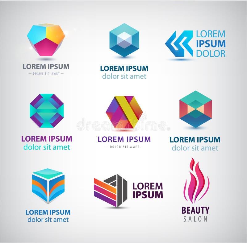 Icone di affari impostate Logos astratto, elementi di progettazione di idntity della società, simboli creativi Uso per l'annuncio royalty illustrazione gratis