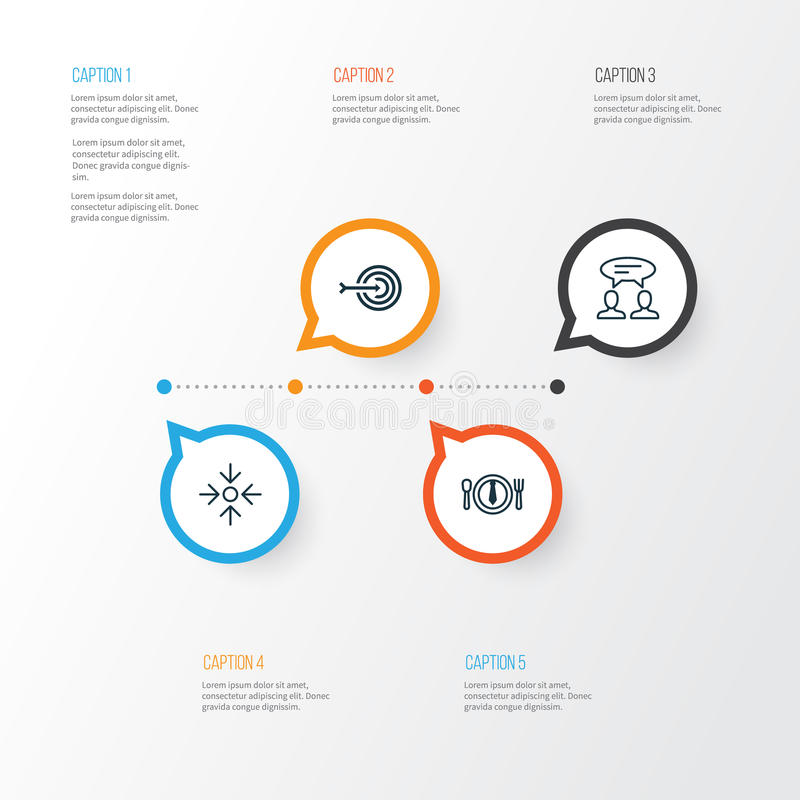 Icone di affari impostate Raccolta della cena, dell'obiettivo aziendale, della freccia e di altri elementi Inoltre comprende i si illustrazione vettoriale